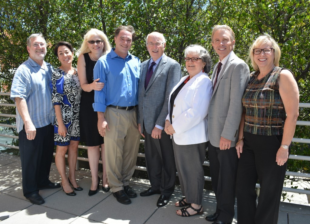 Faculty members (left to right) Steven Garelick, Jaye-Jo Portanova, Stephanie Maloney, Kevin Chroman, Fred Glassman, Dr. Carol Hirshfield, Joe Spirito, and Theresa Heyes.