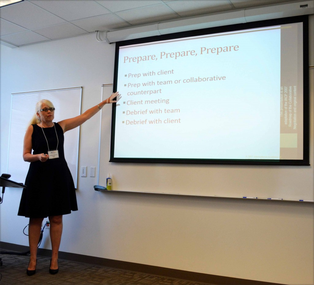 Family Divorce Solutions member Stephanie Maloney leads participants in discussion at the recent Collaborative Practice Training at Loyola Law School.
