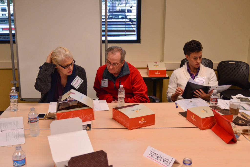 Stephany Maloney (far left) discusses Collaborative Practice principles with colleagues in group discussion during recent advanced training for estates, trusts and probate. Photo: Courtesy Collaborative Practice Silicon Valley
