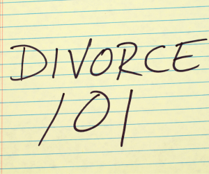 Yellow lined tablet with Divorce 101